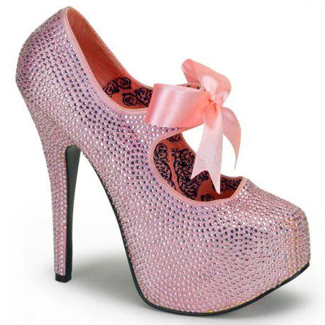 Zapato plataforma alta strass lazo