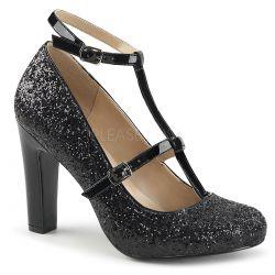 Zapatos tallas grandes 40 a 48 cubierto de purpurina brillante y correa