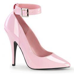 Zapato clásico SEDUCE-43 charol y tacón fino. Correa al tobillo T 36 a 48