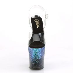 "Sandalias Pole Dance 8"" pulgadas FLAMINGO-808SS. Efecto purpurina holográfica"