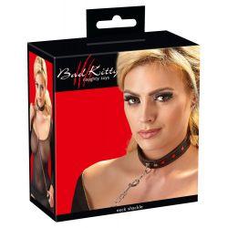 Collar de cuero ajustable con cadena metálica y correa con mosquetón