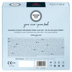 Preservativos extra finos ¨36 und. 60 mm. Látex (Mister Size).