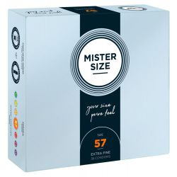 Preservativos extra finos ¨36 und. 57 mm. Látex (Mister Size).