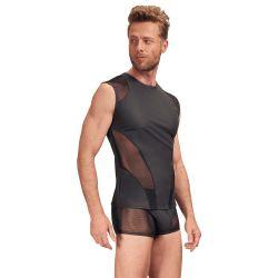 """Camiseta """"NEK"""" en tejido mate con inserciones de red elástica."""