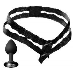 Tanga abierta con doble cinturilla de encaje y plug anal integrado