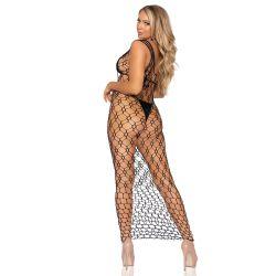 """Vestido largo de tirantes hecho red elástica de la marca """"Leg Avenue"""""""