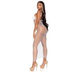 """Vestido largo de redecilla en color blanco """"Leg Avenue"""" con espalda abierta"""