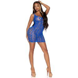 Mini vestido azul de ganchillo con inserciones en forma de margarita
